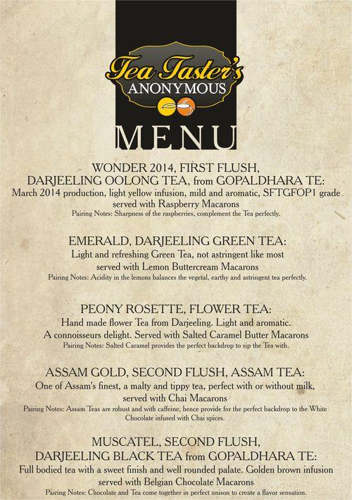 Japanese Tea tasting menu web